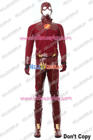The Flash Barry Allen Cosplay Costume Red Leather Uniform Upgraded Version