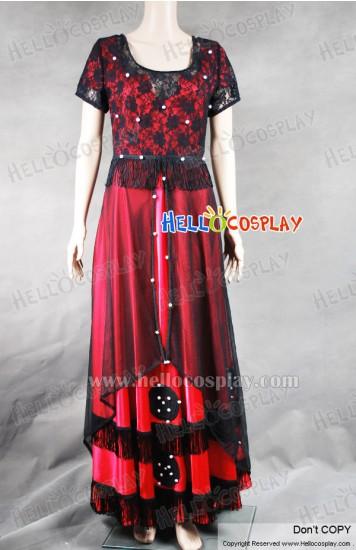 Titanic Rose Cosplay Costume Red Jump Dress