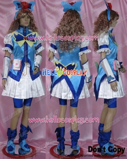 Yes PreCure 5 GoGo Cosplay Cure Aqua Karen Minazuki Costume Satin Ver