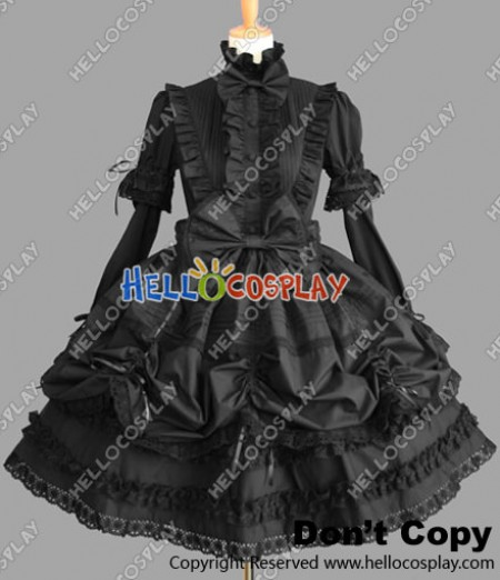 Victorian Gothic Punk Black Lolita Dress