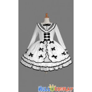 Gothic Lolita Punk Classic Sailor Collar White Dress