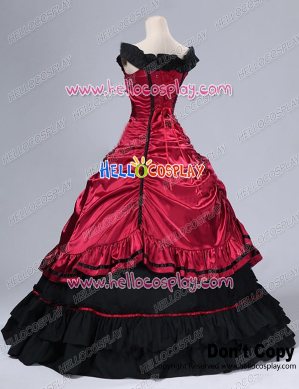 Southern Belle Civil War Ball Gown Formal Reenactment Stage Red ...