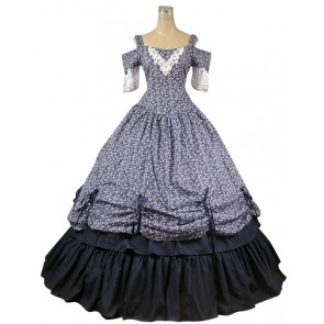 Southern Belle Civil War Ball Gown Prom Floral Cotton Dress