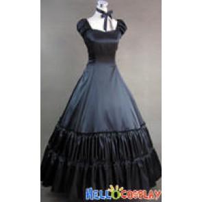 Civil War Gothic Lolita Satin Gown Black Dress Prom
