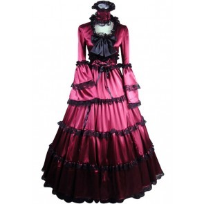 Victorian Lolita Southern Belle Satin Gothic Lolita Dress Red