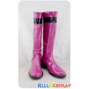Tokusou Sentai Dekaranger Cosplay Pink Pleather Boots