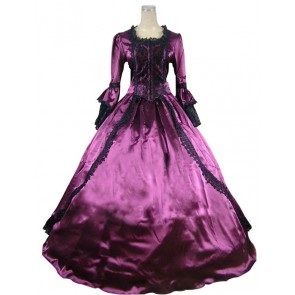 Marie Antoinette Victorian Gothic Ball Gown Purple Wedding Dress
