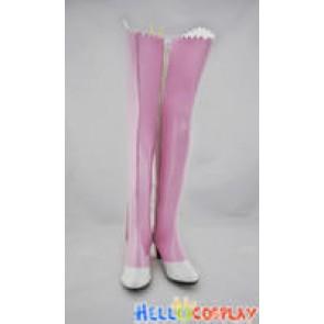 Puella Magi Madoka Magica Cosplay Shoes Madoka Pink Long Boots White Wing