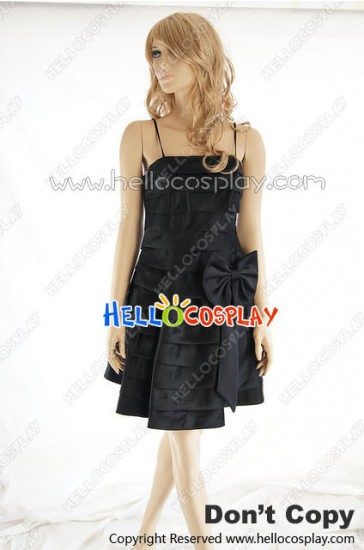 Party Cosplay Black Lady Ball Gown Sling Dress Costume
