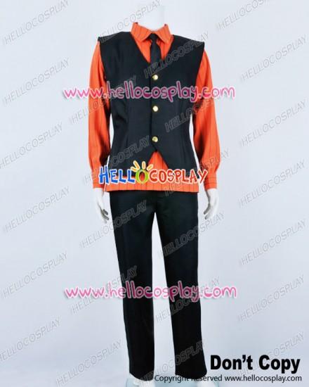One Piece Cosplay Sanji Stripe Dark Orange Shirt Costume