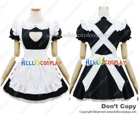 Angel Feather Cosplay Cute Cat Maid Dress Black White