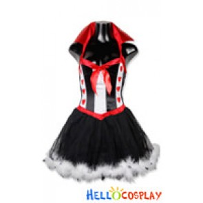 Queen Red Heart Shaped K Cosplay Fur Lace Dress Costume