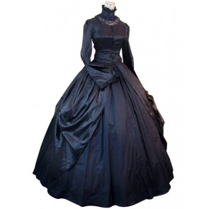 Victorian Gothic Lolita Brocade Black Dress Ball Gown Prom