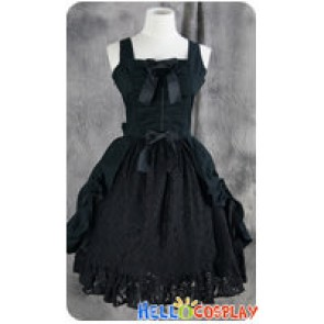 Gothic Lolita Cosplay Black Lace Dress Costume
