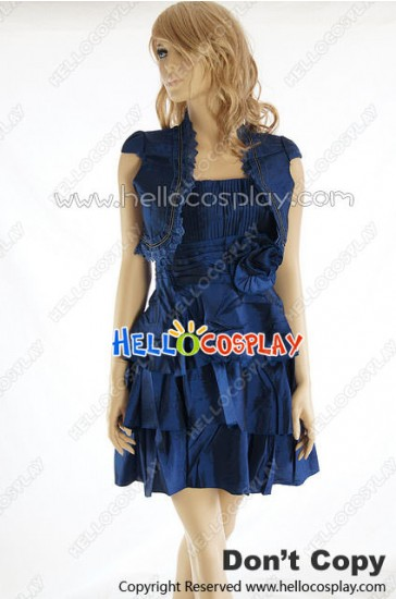 Party Cosplay Blue Cape Lady Sling Dress Uniform Costume