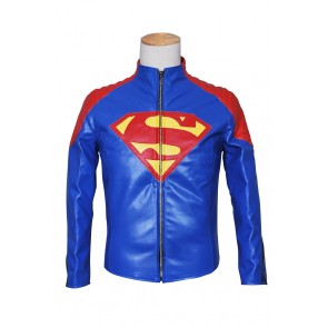 Smallville Clark Kent Cosplay Blue Leather Jacket Coat Costume