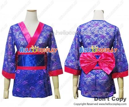 Angel Feather Cosplay Lace Kimono Dress Costume Blue Purple