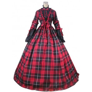 Civil War Reenactment Tartan Dress Ball Gown Prom Cosplay