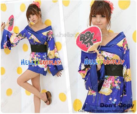 Angel Feather Cosplay Short Kimono Costume Dress Blue