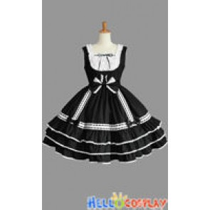 Sweet Lolita Gothic Punk Frill Cute Black Dress