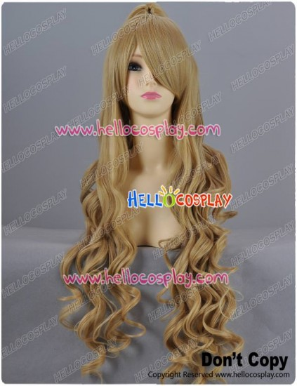 Light Brown Curly Long Cosplay Wig With Clip-On Ponytail