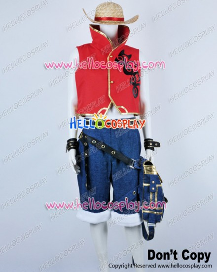 One Piece Cosplay Monkey D Luffy Red Skull Uniform Costume Full Set