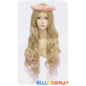 Wig Lolita Cosplay Curly Long Sweet Cute Princess Golden Pink Gradual Change
