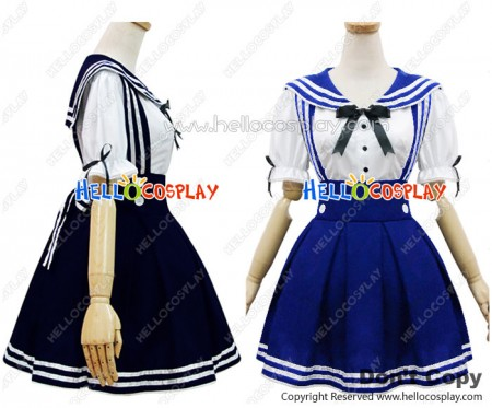 Angel Feather Cosplay Navy Strap Sailor Suit Costume Blue