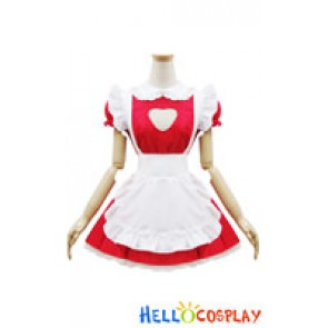 Angel Feather Cosplay Cute Cat Maid Dress Red White