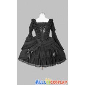 Sweet Lolita Gothic Punk Cute Black Cotton Dress