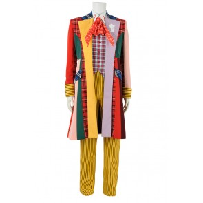 Doctor Cosplay Series 6th Sixth Dr Colorful Lattice Stripe Coat Costume