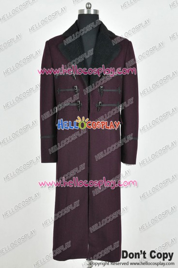 Doctor 11th Eleventh Dr Matt Smith Cosplay Costume Purple Trench Coat