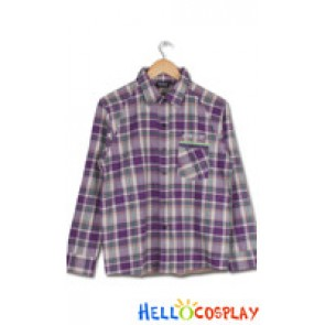 Evangelion 2 You Can Not Advance EVA Cosplay Shinji Ikari Purple Lattice Shirt Costume