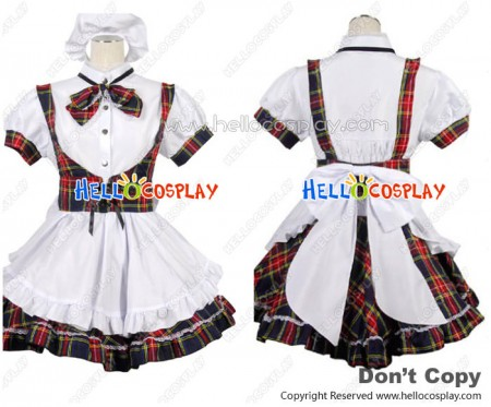 Sweet Red Lattice Bow Knot Cosplay Maid Dress Costume